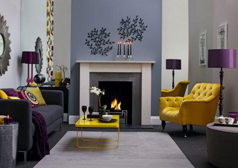 Gray Yellow Purple Living Room First Apartment Pinterest