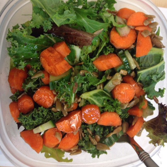 Paleo salad - kale, butter greens, spinach, romaine, carrots, cucumber ...