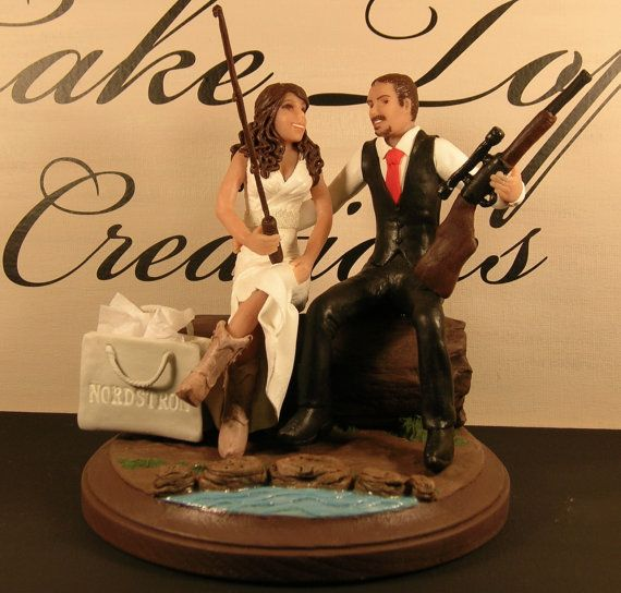 Fishing Hunting Shopping Western Cowboy Boots Wedding Cake Topper Hick Wedd