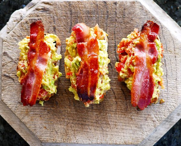 Avocado & Bacon Toast, aka the world's greatest breakfast/lunch. Quit...