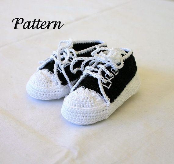 Free Crochet Pattern For Baby Tennis Shoes : Baby sneakers PDF crochet pattern 0-3 month infant tennis ...