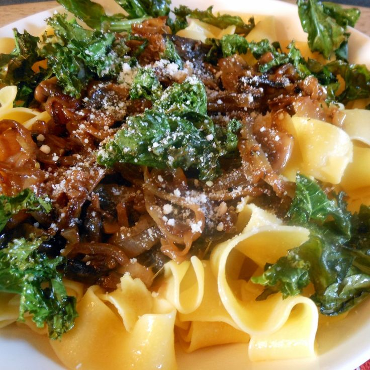 Pappardelle with Caramelized Onions Crispy Kale - Sugar Dish Me