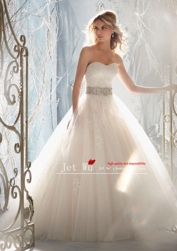 Nova moda uma linha querida cinto beading vestido de noiva jaqueta remove sem encosto tule vestido 2013 jet wu loja on-line fabricante US $120.00