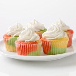 Tie-Dye Fruity Cupcakes made with different flavors of jello ...