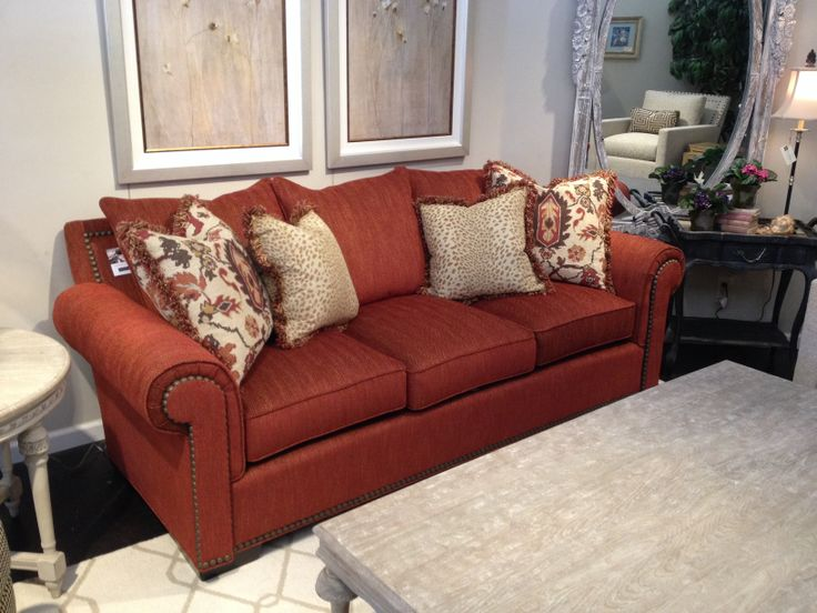 Rust colored transitional sofa furniture showroom for Living room with rust colored sofa