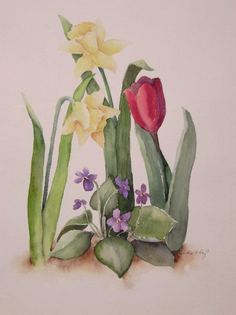 Spring flower trio watercolor painting for Spring flowers watercolor
