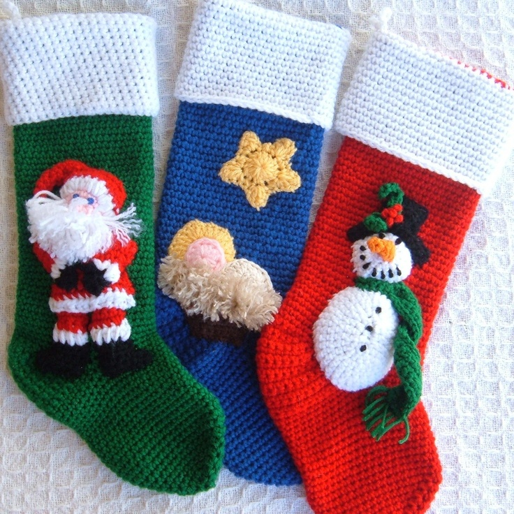Crochet Patterns For Xmas Stockings : Crochet Christmas Stockings Crochet Pinterest
