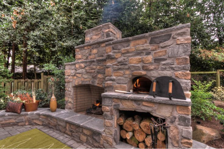 Outdoor Fireplace And Pizza Oven Garden Dreams Pinterest