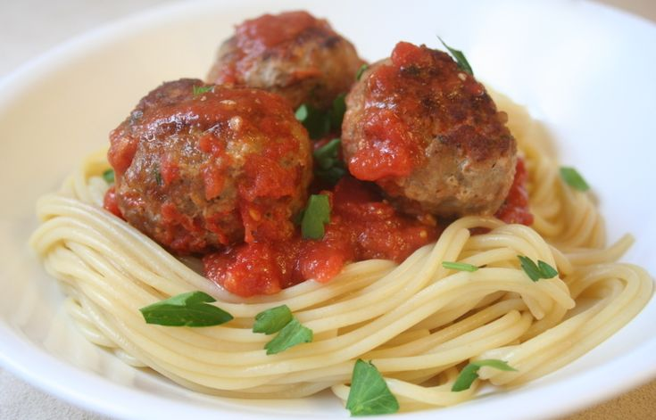 Spaghetti and turkey meatballs | Kiss the Cook | Pinterest