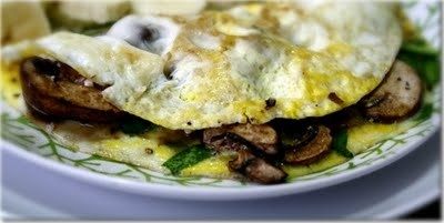PORTABELLA MUSHROOM OMELET with SPINACH and FETA