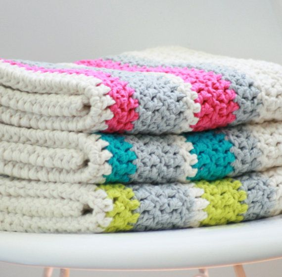 Modern Crochet Patterns For Baby Blankets : Modern Crochet Baby Blanket Organic Cotton Hot Pink Stripe