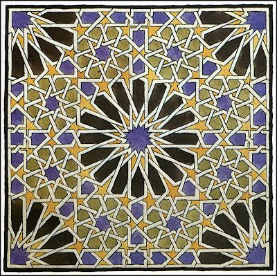 Islamic tile design.  By Escher.  Who knew?  M. C. Escher (1898 ~ 1972)