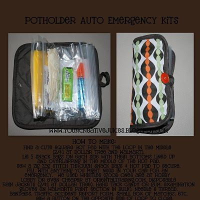 Creative way to use a pot holder! Make it into a auto emergency kit ...