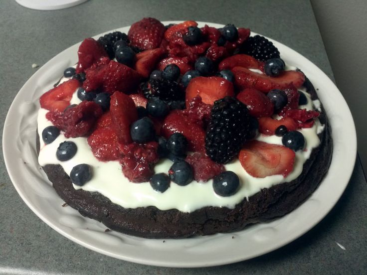 ... chocolate cake, with creme fraiche and summer berries. Made by me