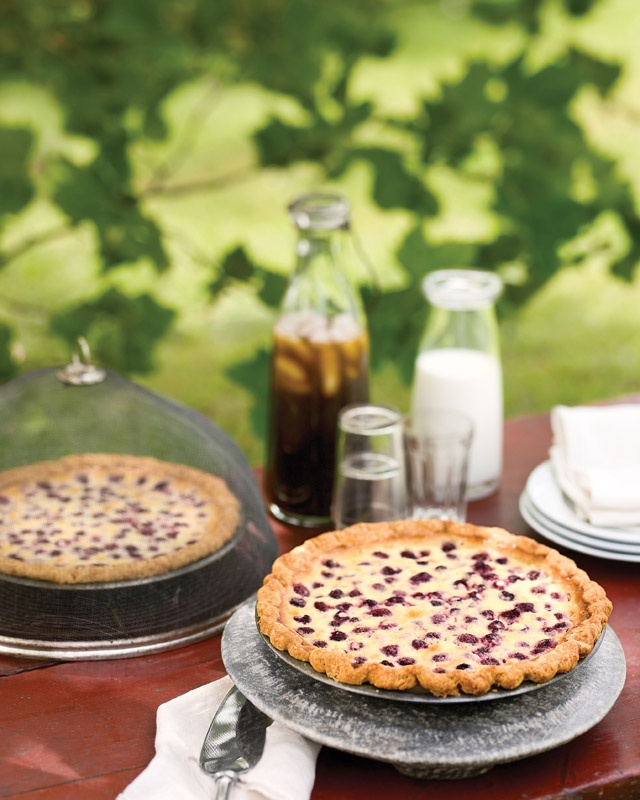 Raspberry Custard Pie..... flour, sugar, egg, coconut milk ...