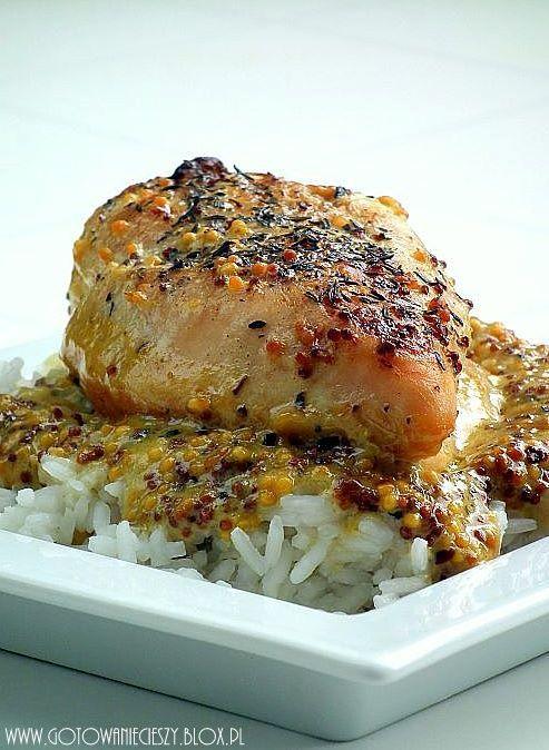 kurczak zapiekany w sosie smietanowo-miodowo-musztardowym