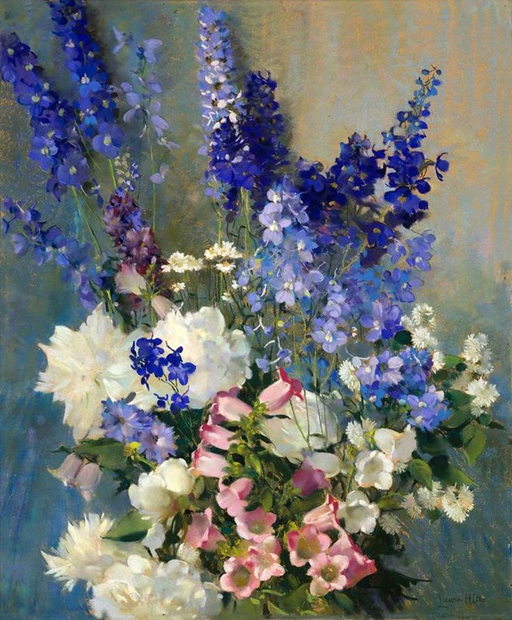 Laura Coombs Hills (1859-1852) — Larkspur, Peonies and Canterbury Bells, c.1915 :  Museum of Fine Arts, Boston, USA (842×1020)