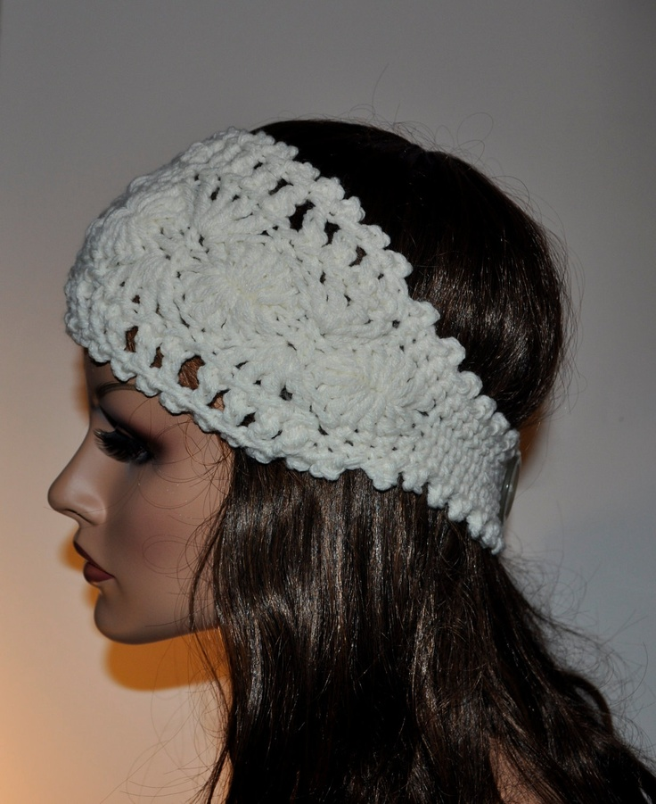 Crochet Ear Warmer Headband, 100 percent Handmade Accessory for Womens ...