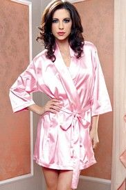 Pink Satin 3/4 Sleeve Robe | Gifts | Pinterest