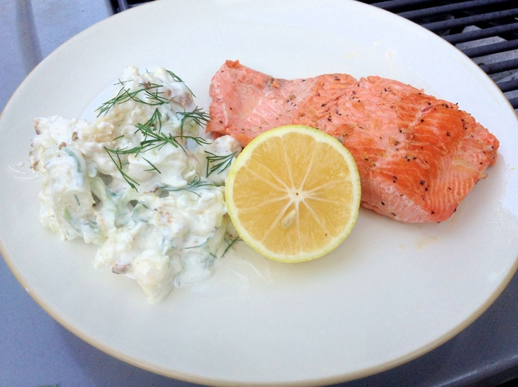 """Tzatziki """"Potato"""" Salad from Chaos and Love. Replace the potatoes w..."""