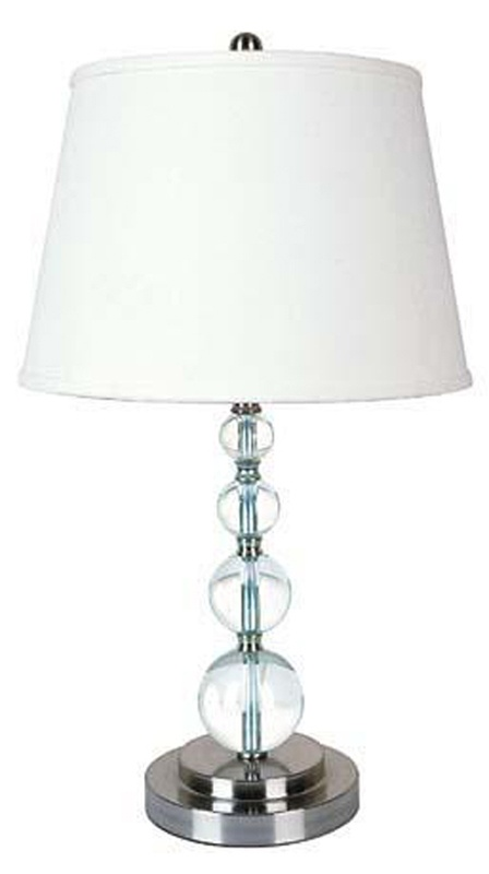 pair of crystal glass stacked ball orb modern table lamps best value. Black Bedroom Furniture Sets. Home Design Ideas