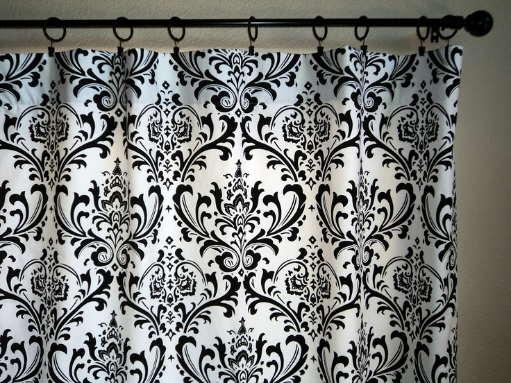 Window Curtains Drapes Pair 50x96 Black And White Damask