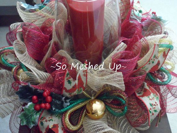 Deco mesh burlap look christmas centerpiece