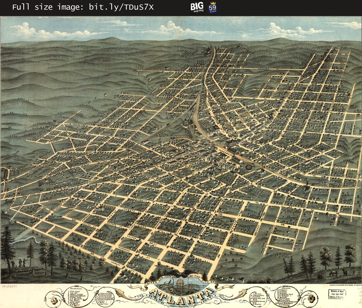 Ruger's birdseye #map of #Atlanta, #Georgia (1871) -- http://www.bigmapblog.com/2011/birdseye-view-of-atlanta-georgia-ruger-1871/