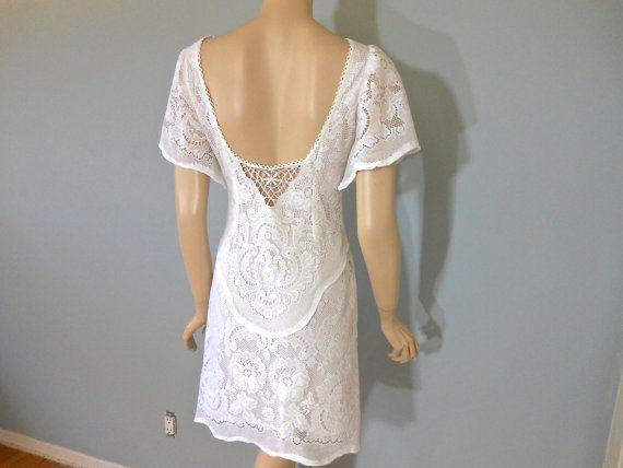 White crochet wedding dress boho backless lace by museclothing