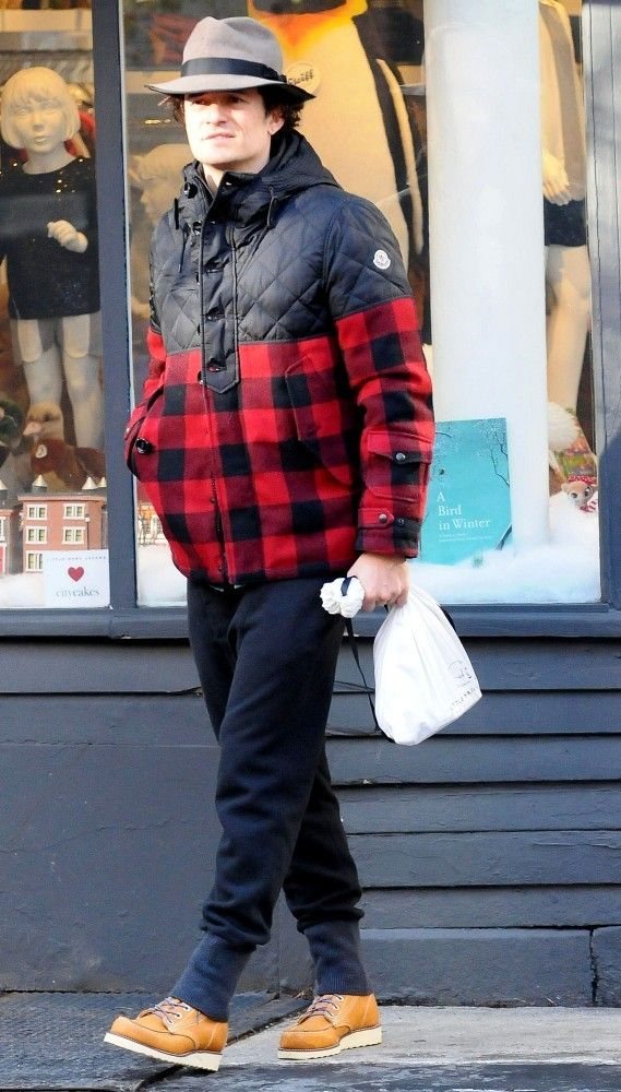 Orlando Bloom Wears Moncler Altier Quilted Check Jacket | UpscaleHype ... Orlando Bloom