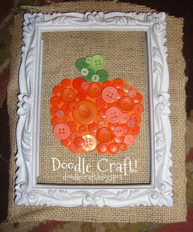 cute pumpkin button craft