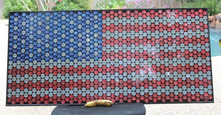 American flag beer bottle cap bar art artwork wall mount for How to make beer bottle cap art