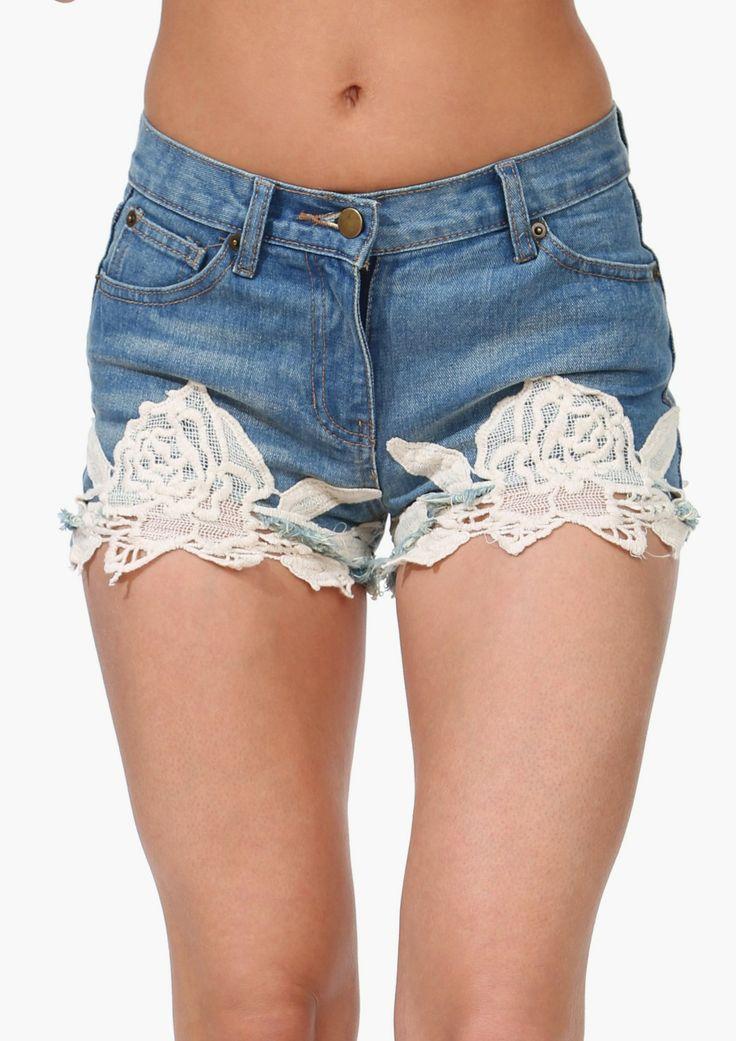 Crochet Denim Shorts Shop for Crochet Denim Shorts Online $28