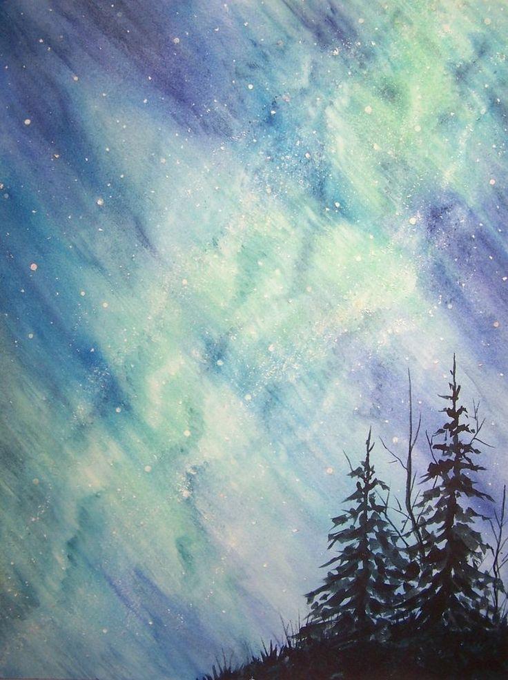 Original Watercolor Painting Winter Night Northern Lights ...