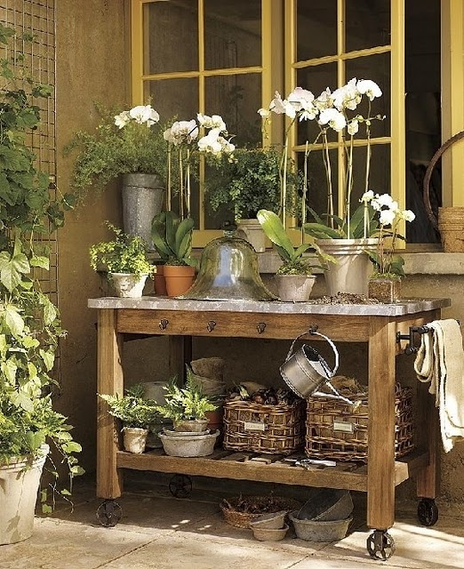 Potting bench outdoor garden pinterest Outdoor potting bench