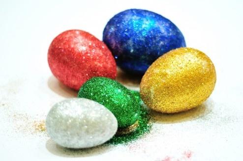 Glittered easter eggs | Dla dzieci | Pinterest