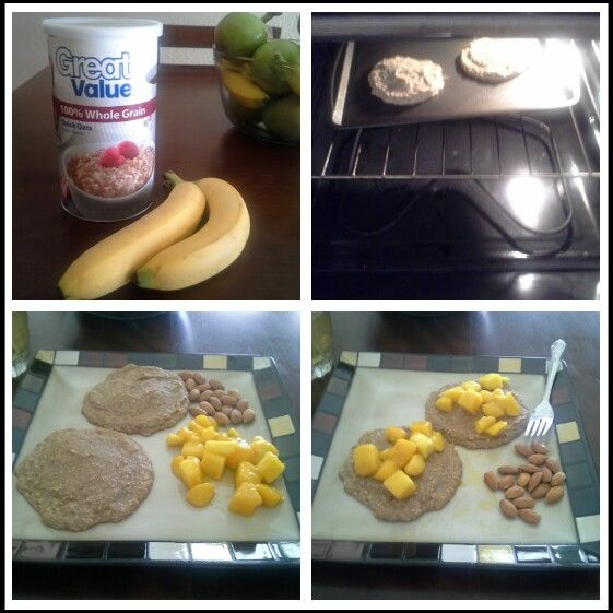 Banana Pancakes! Blend up 2 bananas, about 1-1/2 cups of oatmeal ...