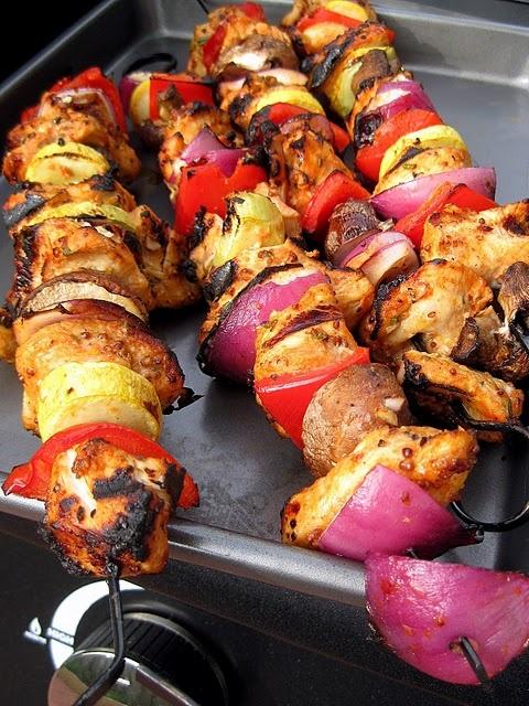 Garlic-Mustard Glazed Skewers | Tickling the Tastebuds | Pinterest