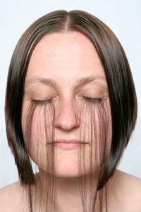 Tiffany Parbs – Extension (2008) – hand woven hair, digital print – photo Terence Bogue