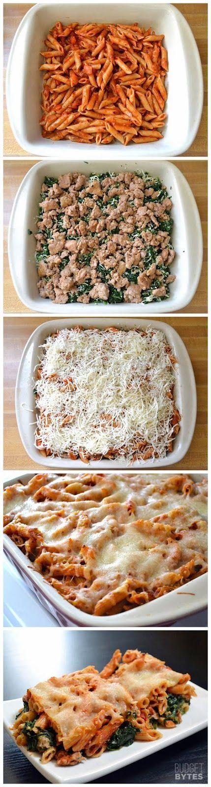 Turkey Spinach Pasta Bake. | Pasta | Pinterest