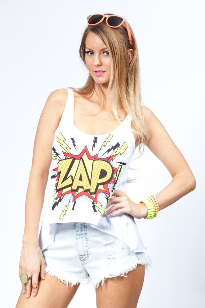Zap White Comic Print Tank