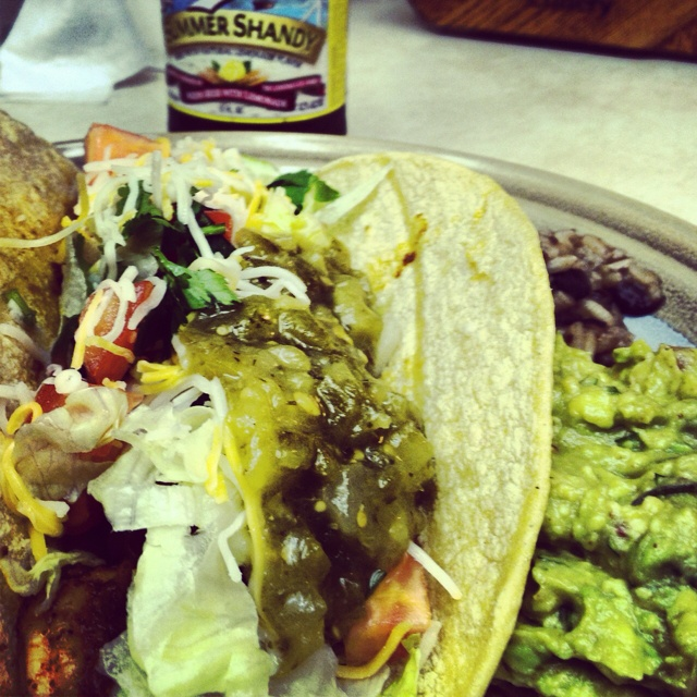 Spicy Shrimp Tacos with the works. && Summer shandy :) ☀#leinenkugels
