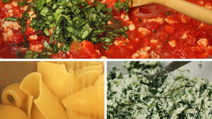 Spinach Stuffed Shells with Meat Sauce   Recipes: Main Dishes ...