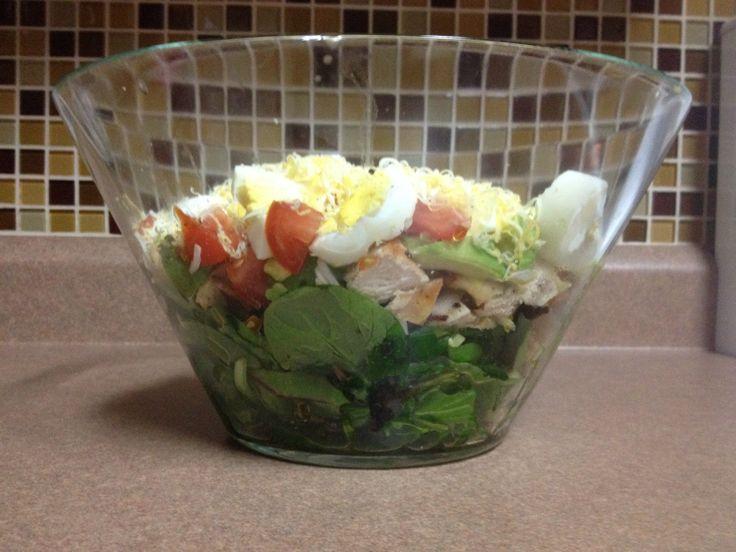 Layered Cobb Salad my version:) No carbs.