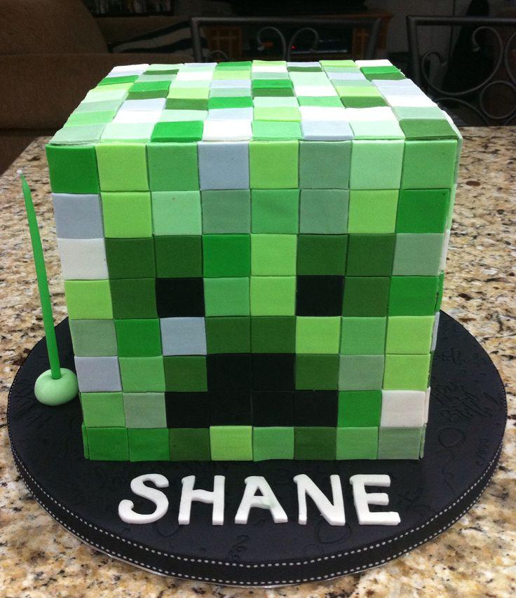 Minecraft Creeper Head Cake My Cakes Pinterest