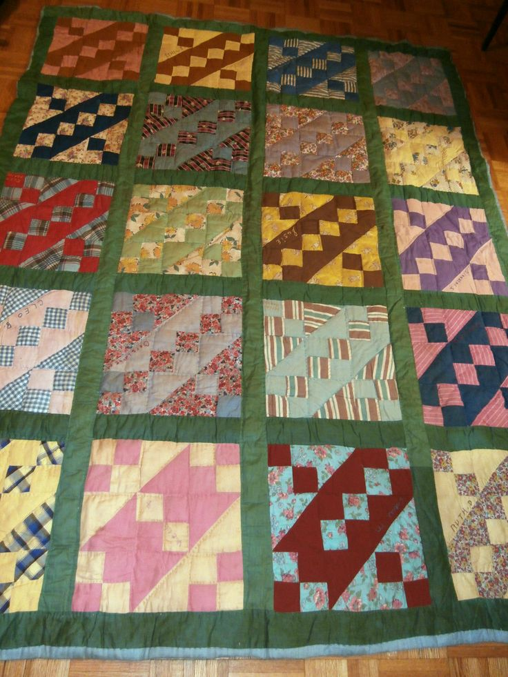 Quilt Pattern Names List : Antique Jacobs Ladder pattern Friendship quilt, stitched names on eac?