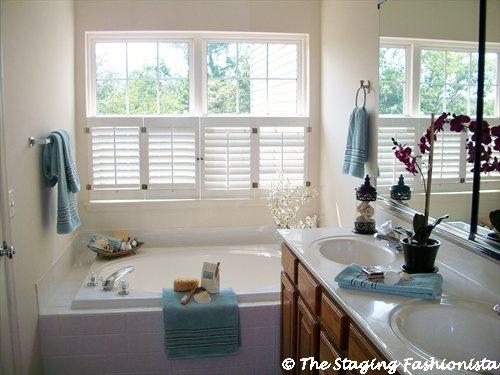 Master bathroom home staging ideas pinterest for Bathroom staging ideas