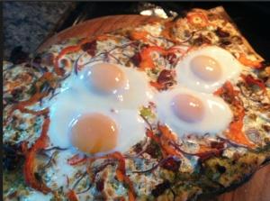 Eggy Breakfast/Brunch Pizza on savory brioche dough.