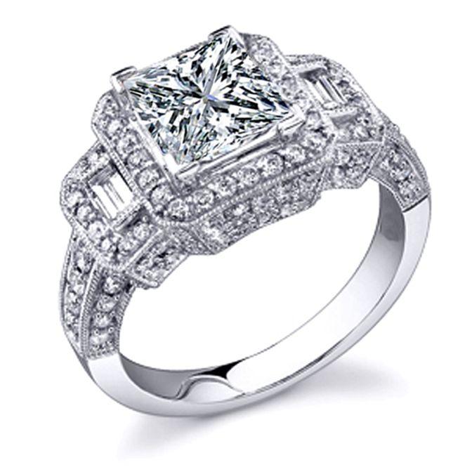 Vintage Style Three Stone Princess & Baguette Cut Diamond Engagement Ring