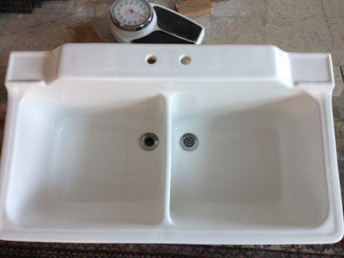 Deep Porcelain Sink : Awesome-Large Deep Vintage White Porcelain Double Sink w/backsplash